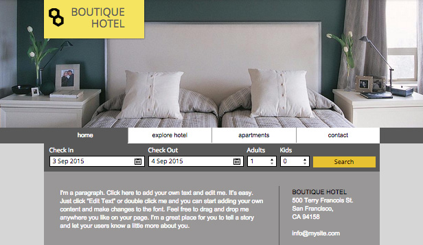 Boutique Hotel Wix Template Wix Accommodation Template