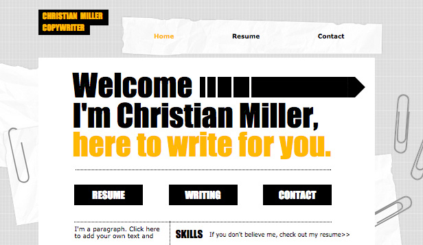 Copywriter Cv Wix Template Wix Creative Arts Template