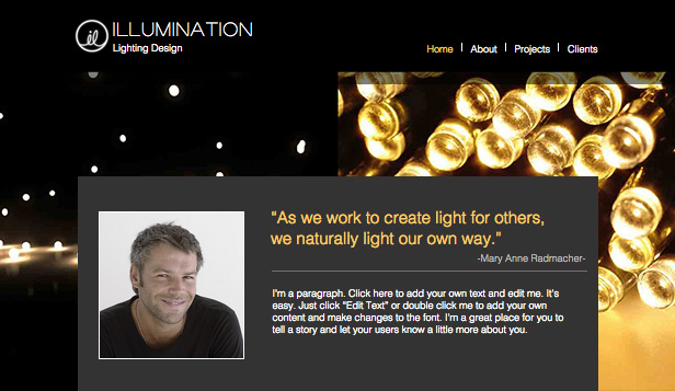 lighting design wix template wix events template